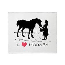 Horse & Girl I Heart Horses Throw Blanket