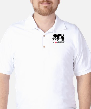 Horse & Girl I Heart Horses Golf Shirt