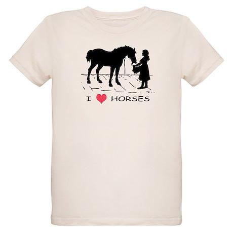 Horse & Girl I Heart Horses Organic Kids T-Shirt