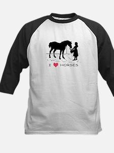 Horse & Girl I Heart Horses Kids Baseball Jersey