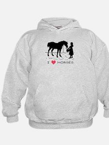 Horse & Girl I Heart Horses Hoodie