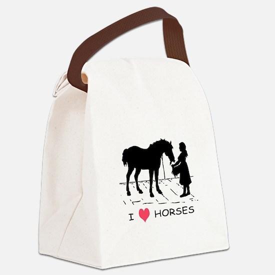 Horse & Girl I Heart Horses Canvas Lunch Bag
