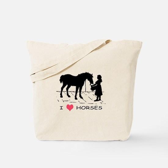 Horse & Girl I Heart Horses Tote Bag