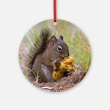 Happy Squirrel & Prized Mushroom Round Ornament