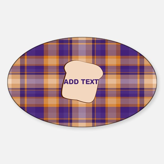 Peanut Butter and Jelly Plaid bread Sticker (Oval)