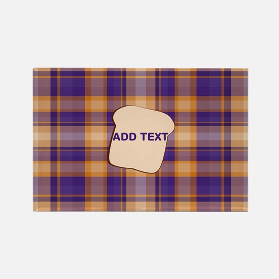 Peanut Butter and Jelly Plaid bre Rectangle Magnet