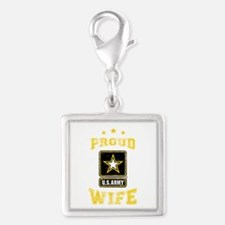 US Army proud Wife Silver Square Charm