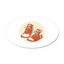 Running Shoes Oval Car Magnet