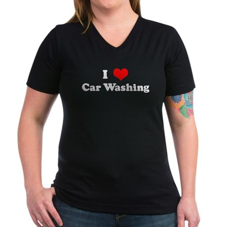 I Love Car Washing Women's V-Neck Dark T-Shirt