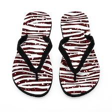 Red Faux Glitter Zebra Flip Flops