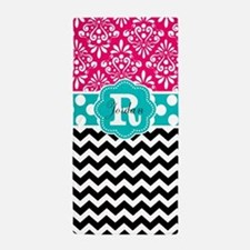 Pink Teal Black Chevron Dots Personalized Beach To
