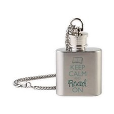 Keep Calm and Read On Flask Necklace