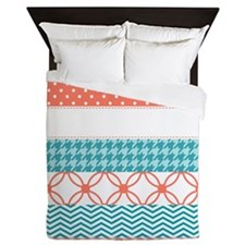 Coral Teal Washi Tape Pattern Queen Duvet