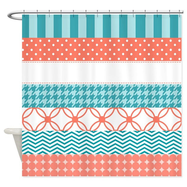 Coral Teal Washi Tape Pattern Shower Curtain By