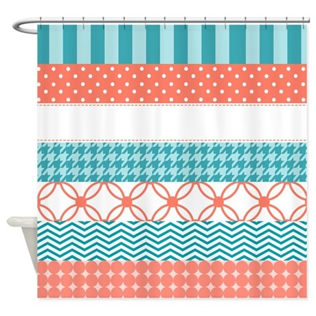Coral Teal Washi Tape Pattern Shower Curtain by OhSoGirlyTKDesigns