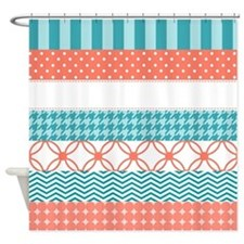 Coral Teal Washi Tape Pattern Shower Curtain