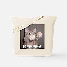 pew pew cat Tote Bag