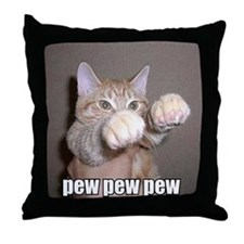 pew pew cat Throw Pillow
