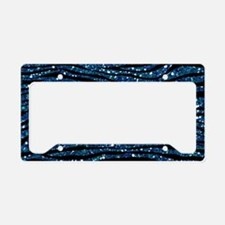 Blue Black Faux Glitter License Plate Holder