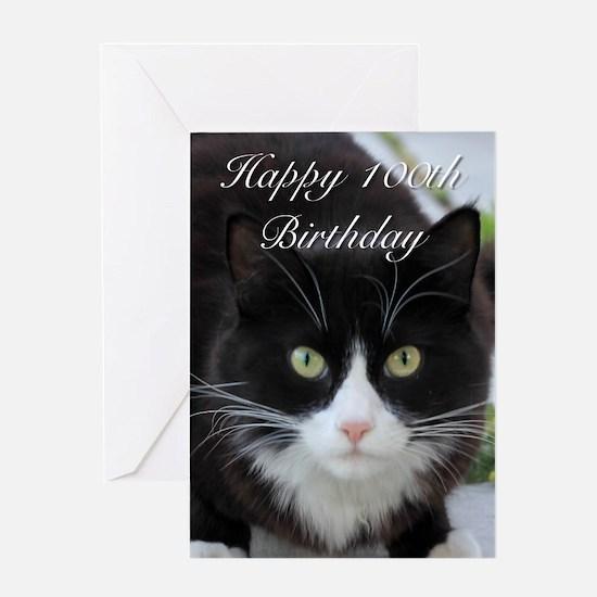 Happy 100th Birthday cat Greeting Cards