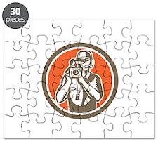Cameraman Holding Movie Video Camera Circle Puzzle