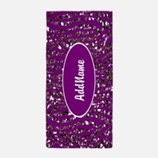 Purple Faux Glitter Zebra Personalized Beach Towel