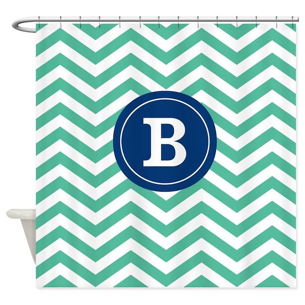 Green Navy Chevron Monogram Shower Curtain By
