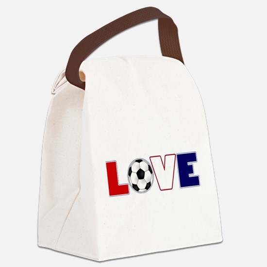 Love Soccer USA Colors Canvas Lunch Bag