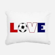 Love Soccer USA Colors Rectangular Canvas Pillow