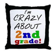 Crazy About 2nd Grade Throw Pillow