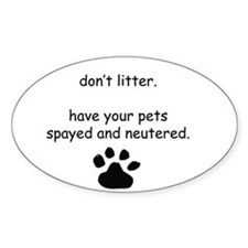 Spay and Neuter Oval Decal