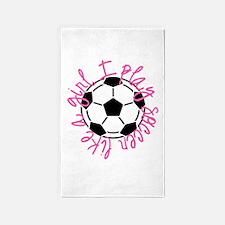 I play soccer like a girl 3'x5' Area Rug