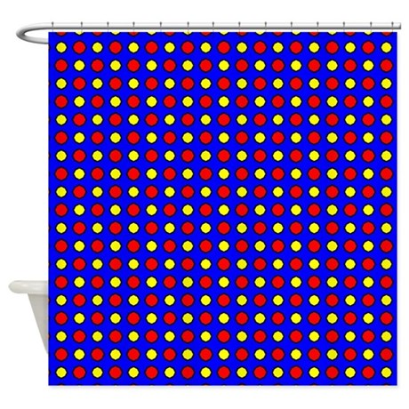 Red And Yellow Polka Dots Shower Curtain By PatternedShop