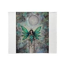 Little Green Fae Fairy Art Throw Blanket