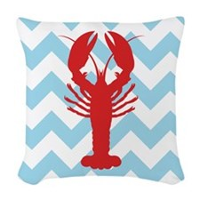 RED LOBSTER ON BLUE CHEVRON Woven Throw Pillow