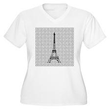 Eiffel Tower on Polka Dots Plus Size T-Shirt
