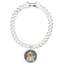 Dog on Blue and White Polka Dots Bracelet