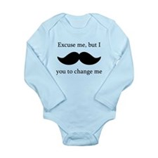 I Mustache You To Change My Diaper Body Suit