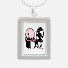 Girly Pink Woman Silhouette Necklaces