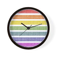 Worn Rainbow Stripes Wall Clock