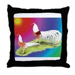 Yokohama Rooster and Hen Throw Pillow