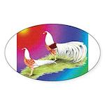 Yokohama Rooster and Hen Sticker (Oval)