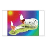 Yokohama Rooster and Hen Sticker (Rectangle)