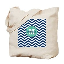 Green Navy Chevron Personalized Tote Bag