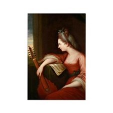Lady with a Lute Rectangle Magnet