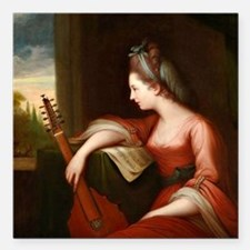 """Lady with a Lute Square Car Magnet 3"""" x 3"""""""