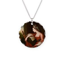 Lady with a Lute Necklace Circle Charm