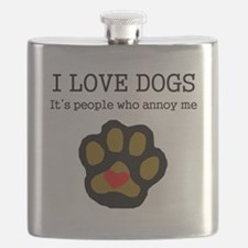 I Love Dogs People Annoy Me Flask
