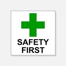 """Green Cross - SAFETY FIRST.png Square Sticker 3"""" x"""