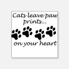 Cats Leave Paw Prints On Your Heart Sticker